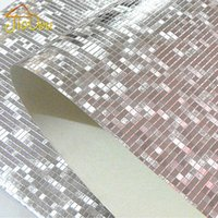 Wholesale Reflection Sound - Luxury Glitter Mosaic Wallpaper Background Wall Wallpaper Gold Foil Wallpaper Silver Ceiling Wallcovering Papel De Parede