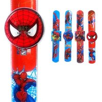 Wholesale Kids Wrist Snap - kids cartoon spiderman watches slap snap wristwatch boys girls wrist watch for children toys Christmas Gift wholesale free shipping hot