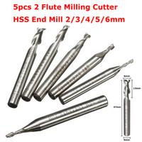 Wholesale Hss End Cutter - 5pcs 2 Flute 2 3 4 5 6mm 6mm Shank Milling Cutter HSS End Mill CNC Engraving Bit