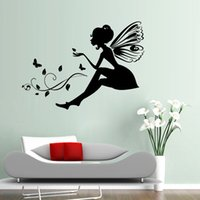 Wholesale Tinkerbell Removable Wall Stickers - AW9065 Flower Angel Fairy Castle Art tinkerbell Mural Wall Stickers Kids Bathroom Bedroom Decoration Vinyl Wallpapers Stickers