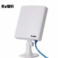 Wholesale Usb Wifi Antenna High Range - Wholesale- KuWfi 150Mbps High Gain 14dBi Antenna 5m Cable Wireless USB Adapter High Power Outdoor Waterproof 2.5km Long Range Wifi Receiver