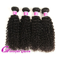 Wholesale Colorful Curly Natural Hair - Colorful Queen Products Indian Virgin Hair Weave 4 Bundles Deals Afro Kinky Curly Cheap Indian Curly Human Hair Extensions 8-26Inches