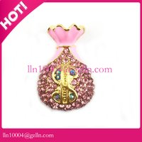 Wholesale pink rhinestone jewelry brooch resale online - 2017 hot sale high quality pretty moneybag brooch pink rhinestone moneybag jewelry brooch pin