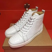 Wholesale Serpentine Shoes - Free Shipping men&women high-end custom genuine leather white casual shoes punk design high top Serpentine red bottom sneakers size 36-46
