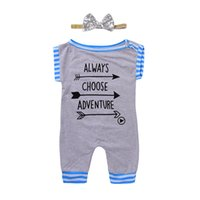 Wholesale adventure clothing - Mikrdoo Summer Hot Baby Rompers Newborn Cotton Grey Sleeveless Romper Hairband 2 Pcs Clothes with Letters Always Choose Adventure Top Set