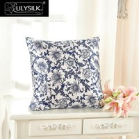 Wholesale Silk Pillow Cover Free Shipping - Wholesale- Pillow Case Lilysilk 100% Silk Pillow Cover 16 Momme Blue and White Pure Mulberry Silk Free Shipping