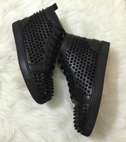 ingrosso migliori scarpe casual in pelle-Le migliori sneakers borchiate con fondo rosso scarpe di pelle di lusso con strass scarpe da uomo per donna