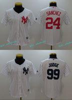 Wholesale Gary Mix - Womens #99 Aaron Judge Jersey New York Yankees #24 Gary Sanchez 100% Stitched Embroidery Logos Baseball Jerseys Cheap White Mix Order