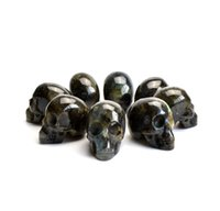 Wholesale Crystal Skull Carving - 1.9 INCHES Natural Tumbled Labradorite Carved Crystal Reiki Healing Skull Statue with a Velvet Pouch