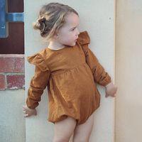 Wholesale Girls Cloting - Everweekend Girls Vintage Ruffles Long Sleeve Autumn Rompers Sweet Vintage Brown Purple Color Baby Cloting