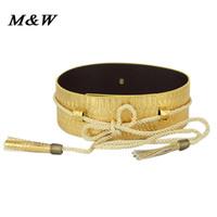 Wholesale Black Gold Wide Belt - Wholesale- 2017 new fashion decoration waistband women's wide belt serpentine leather Cummerbunds gold black tassel strap belts for women