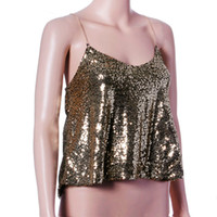 Wholesale Sexy Club Clothes Wholesale - Wholesale- 2016 NEW Fashion Women Sexy Gold Sequins Vest Tank Top Summer Sleeveless Condole belt Crop Top Party Club Tank Tops Clothes