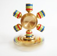 Wholesale Bike Puzzle - 100% Brass Fidget Spinner Luminous Hexagon Hand Spinner Puzzle Finger Toy EDC Focus Fidget Spinner ADHD Relieves stress Toy with box