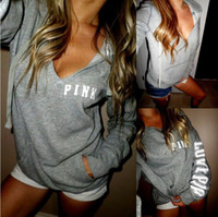 Бесплатная доставка Hip Hop Pink Sweatshirt Autumn Casual Pullovers Women Grey Hoodies V Шея Пот рубашка Femme Tops Harajuku Tracksuit