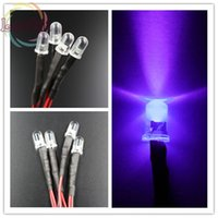Wholesale Leds 12v 5mm - Wholesale- 50 X LED 5mm 12v Pre-Wired Resistor Round Top Purple UV Bright Emitting leds 12V DC 20cm Pre Wired Diodes Led Lamp DIY Wholesal