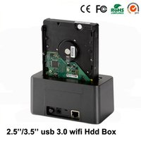 Wholesale Network Disk - Wholesale- Wireless external hard disk box 2.5 3.5 inch usb 3 SD TF enclosure to SATA case 6TB adapter hdd ssd with wifi network