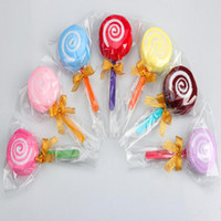 Wholesale Cotton Candy Cake Towel - 20*20cm Microfiber Cake Towels Candy Towels Novelty Birthday Party Wedding Favor Gift Lovely Lollipop Towel Random Color