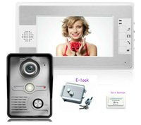 Wholesale Video Door Locks - 7 inch color video door phone with IR night version IR camera video door bell Video Doorbell with Electric lock
