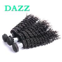 dalgalı saç uzatma atkıları toptan satış-DAZZ Toptan Işlenmemiş Sıkı Malezya Derin Dalga Bakire Saç Demetleri Islak Ve Dalgalı İnsan Saç Dokuma Atkı Remy Derin Kıvırcık Saç Uzantıları