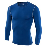 Wholesale Tight Shirts Sport For Men - Mens Plain Color Compression Long Sleeve Shirt for Sporting Men Long Sleeve Breathable T-shirts Skin Tights Free Shipping