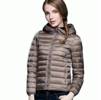 Wholesale Women S Hooded Down Coats - 2017 Winter Spring Women 90% White Duck Down Jacket Woman Hooded Ultra Light Down Jackets Warm Outdoor Portable Coat Parkas Outwear Female