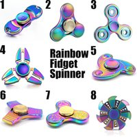 Wholesale Steel Aluminium Case - Rainbow Metal Fidget Spinner EDC New Rollover Gyro Wholesale Toys Tri Aluminium Alloy Newest Steel Ball Colorful Clear Retail Case