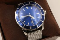 Wholesale Superocean Strap - Luxury brand bre SUPEROCEAN second generation 42 silver chain strap with blue dial rotating bezel automatic mechanical diving watch