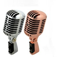 Wholesale Microphone Style - Professional Wired Vintage Classic Microphone Top Quality Dynamic Moving Coil Mike Deluxe Metal Vocal Old Style KTV MIC