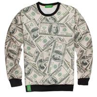 Wholesale Dollar Hoodie - Wholesale- 3d dollar dollar bill sweatshirts long-sleeved men spoof hoodies pullovers