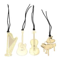 Wholesale Wholesaler For Music Instruments - 4Pcs lot 56*115mm Music Instruments Guitar Bookmark Golden Plated Metal Craft Paper Bookmark Set for Book Christmas Gift Package