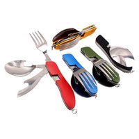 Wholesale New Arrive Multi function Outdoor Camping Picnic Tableware Stainless Steel Cutlery in Folding Spoon Fork Knife Bottle Opener