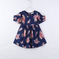 Wholesale Tubes For Boats - Wholesale Girls Tube Dresses Kids Summer Clothes Children Short Sleeve Clothing Baby Flower Dress For 90-130cm