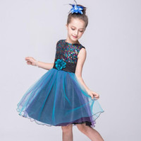 Wholesale Wholesale For Bridesmaid Dresses - Fashion Kids Sequins Dress Girl Flower Princess Formal Party Pageant Wedding Bridesmaid Dress Clothes For Girl Sleeveless