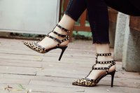 Wholesale Ladies Leopard Heels - Wholesale Hot New Buckle Woman High Heels Straps Lady Sandals Spikes Leopard Horsehair Shoes Free Shipping Dropship