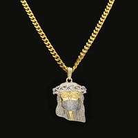 Celtic 24k white gold necklace chain - 2017 New Arrivel Hip Hop Christ K Gold Plated Jesus Head Charm Pendant Religious Catholic Jesus Face Piece Pendant Jewelry