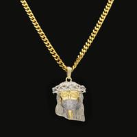 ingrosso pezzi di gesù-Nuovo Arrivel HipHop Cristo placcato oro Gesù testa pendente di fascino religioso cattolico Gesù faccia gioielli ciondolo