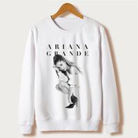 Wholesale Wholesale Hoodies Designs - Wholesale- White 2017 Harajuku Design Sweatshirts Ariana Grande Print Hoodies Femme O-neck Character Sudaderas Mujer Pullovers sweatshirt