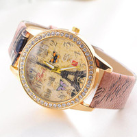 Wholesale Watch Paris - Xiniu Brand Ladies Woman Fashion Paris Style Tower Butterfly PU Leather Women Wrist Watch Clock Date Relogio Feminino Saat