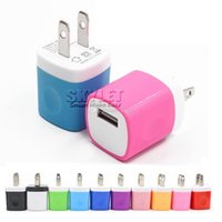 Wholesale Iphone Wall Charger Dhl - Wall charger Travel Adapter For Iphone 6S Plus 5V 1A Colorful Home Plug USB Charger For Samsung S6 S6 EDGE Note 5 USA Version EU Version DHL