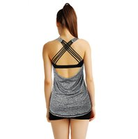 Wholesale Dry Fit Shirts Women - Grey Womens Yoga Tee Shirt Sexy Strappy Back Crisscross Sports Fitness Gym Shirts Dry Fit Biking Running Burnout Tank Top Blouse