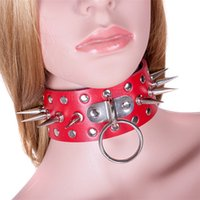Wholesale adult sex leather bondage gear - Red PU Leather Rivet Needle Thorns Collar Slave Fantasy Fetish Bondage BDSM Gear Bondage Neck Strap Adult Sex Product for Couple
