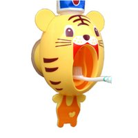 Wholesale Kids Dispenser - Wholesale- Household Creative Cartoon Automatic Toothpaste Dispenser Wall Mount Stand Bathroom Sets animals Design for Kids