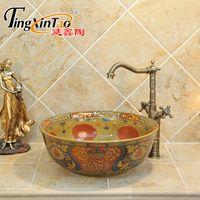 Wholesale Luxury Ceramic Countertop Basins - Europe style Flowers and birds luxury bathroom vanities chinese Art Counter Top ceramic foot wash basin