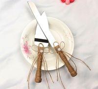 Wholesale knife cake server sets - 2017 New 2pcs set cake tools wedding cake knife and server set,stainless steel fancy kitchen knife set cutting knife cake shovel