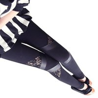 Wholesale Cheap Warm Leggings - Wholesale- Hot Charming Warm Cheap Lace Leggings Skinny Stretch Pants for Autumn Winter Triangular Lace PU Leather Leggings