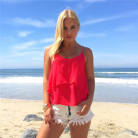 Wholesale Light Blouses - Summer Women Sexy Sleeveless Chiffon Loose Vest Tops Blouse Hollow Out Amazing Tiered Light Color Sexy Seaside Sundress Ruffle Camis
