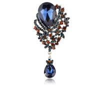 Wholesale European American New Style Inch Classic Antique Tear Drop Muticolor Rhinestone Crystal Wedding Bridal Brooch Pin