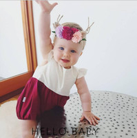 Wholesale Girl Spells - 2017 INS hot styles New Arrivals baby kids Europe and America style Super cute white wave point spell color romper