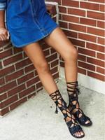boêmio mid vitela vestidos venda por atacado-2019 verão mulheres gladiador botas mid calf botas de salto plana corta botas sob o joelho estilo boêmio sapatas de vestido senhoras sandália botas
