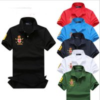 Wholesale Wholesale Contrast Collar Polo Shirt - 5pcs New Brand 2017 Fashion embroidery Polo Shirt Men Short Sleeve Casual Shirts Man's Solid Polo Shirt Plus Size Camisa Polo